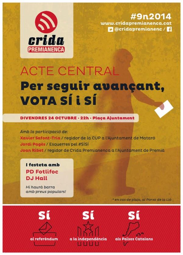 Crida inicia la campanya pel doble SÍ a la consulta del proper 9 de novembre