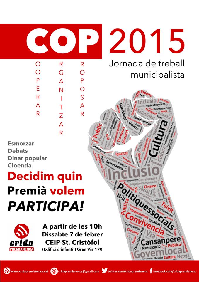 Crida Premianenca organitza la COP 2015, jornada municipalista de treball
