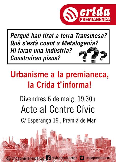 Urbanisme a la premianenca: divendres 6 de maig a les 19:30
