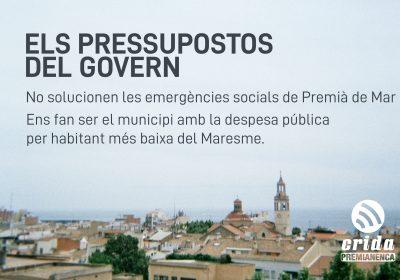 Crida Premianenca davant els pressupostos 2019 de l'Ajuntament de Premià de Mar
