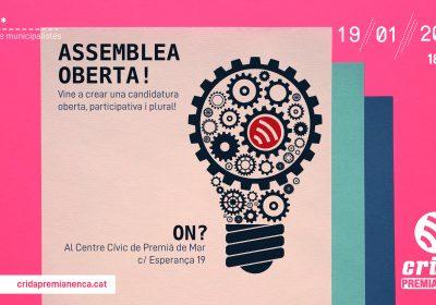 19 de gener: Assemblea Oberta de Crida Premianenca per confeccionar la llista electoral